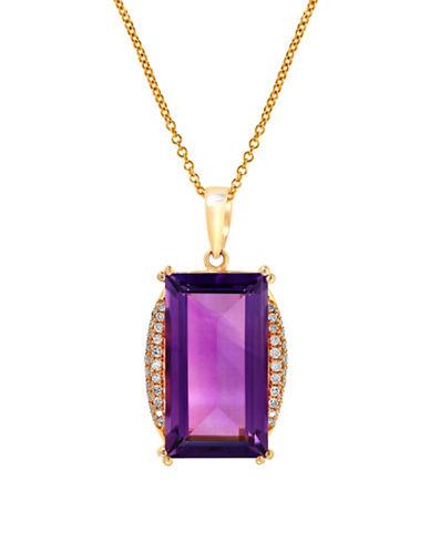Effy 14K Yellow Gold, Rectangular Amethyst Pendant with 0.16TCW Diamond Necklace-PURPLE-One Size