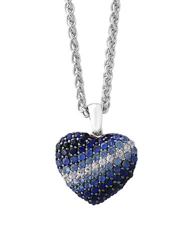Effy Sapphire Sterling Silver Heart Paved Pendant Necklace-BLUE MULTI-One Size