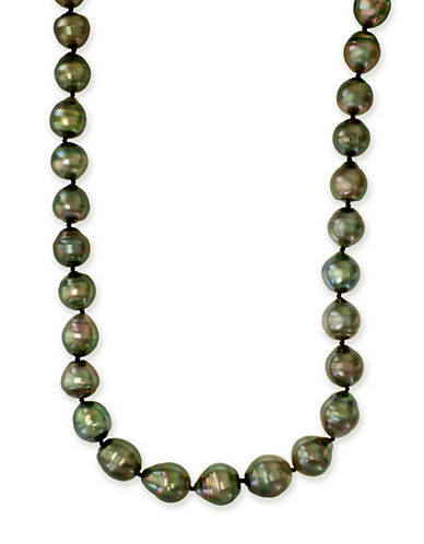Effy Sterling Silver 10.5mm Black Tahitian Necklace-GREEN-One Size