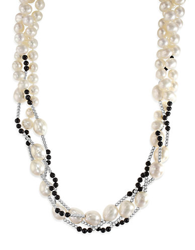 Effy Sterling Silver 6-8mm Pearl And Agate Necklace-PEARL-One Size