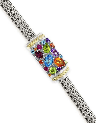 Effy 18K Yellow Gold and Sterling Silver Multi Gemstone Tennis Bracelet-MULTI-One Size