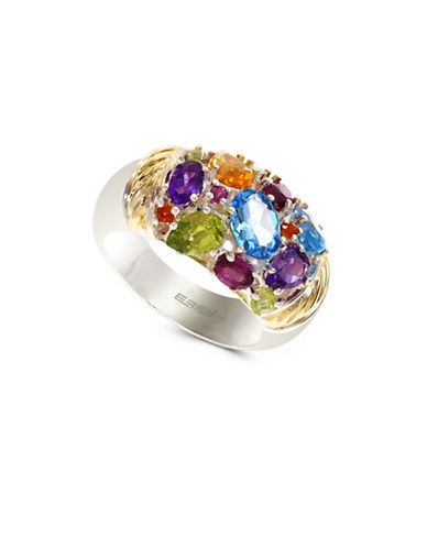Effy 18K Yellow Gold and Sterling Silver Multi Gemstone Ring-MULTI-7