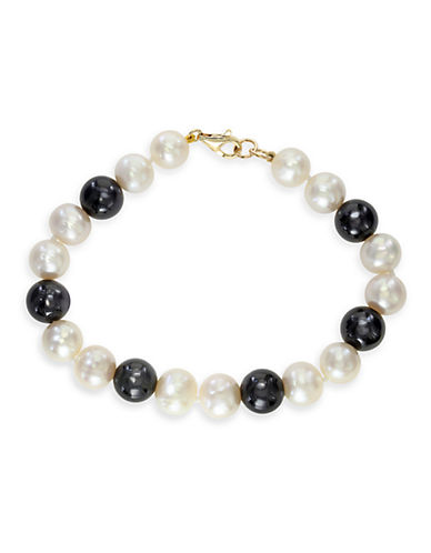 Effy 14K Yellow Gold 9mm Pearl and 38.45ct Onyx Tennis Bracelet-PEARL-One Size