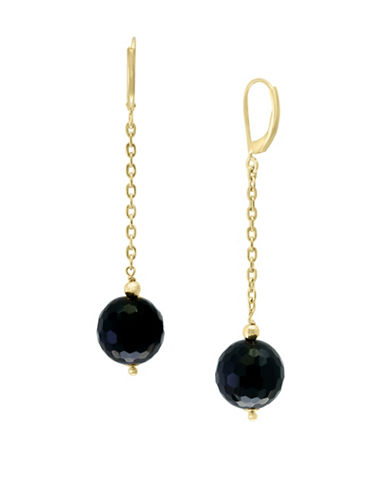 Effy 14K Yellow Gold and Onyx Drop Earrings-ONYX-One Size