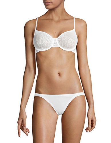 Dkny Mesh-Lined Lace Demi Bra-WHITE-36C