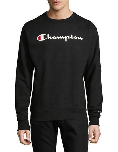 Champion Screen-Print Fleece Sweater-BLACK-Large