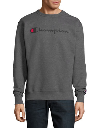 Champion Screen-Print Fleece Sweater-GREY-Large