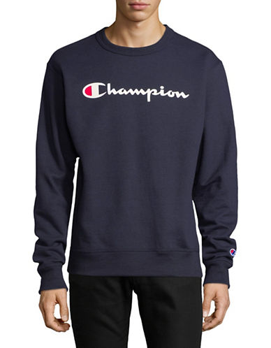 Champion Screen-Print Fleece Sweater-BLUE-Medium