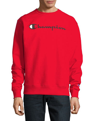 Champion Screen-Print Fleece Sweater-RED-X-Large