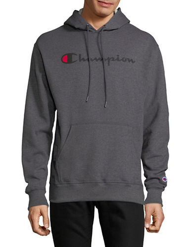 Champion Screen-Print Fleece Hoodie-CHARCOAL-Medium