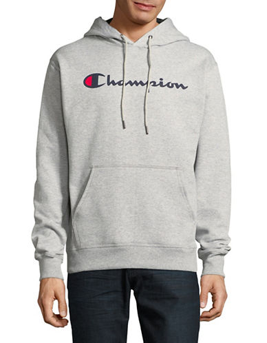 Champion Screen-Print Fleece Hoodie-GREY-X-Large