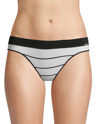 Dkny Seamless Litewear Thong-BLACK/WHITE-X-Large
