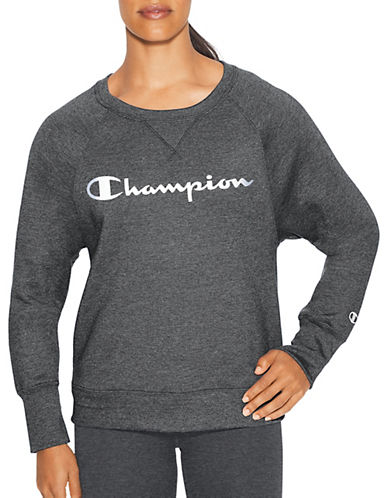 Champion Fleece Crew Neck Graphic Sweater-DARK GREY-Small 90026562_DARK GREY_Small