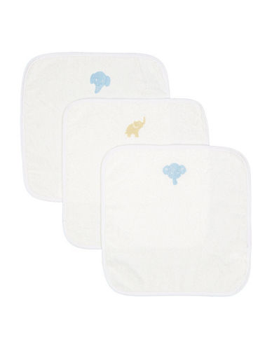 Boker And Laila Three-Pack Elephant Cotton Washcloth-BLUE-One Size