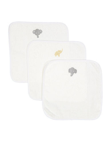 Boker And Laila Three-Pack Elephant Washcloths-GREY-One Size