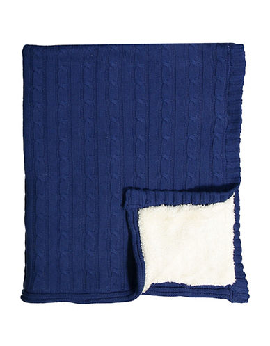 Tots Fifth Ave Cable Knit and Sherpa Blanket-NAVY BLUE-One Size