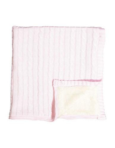 Tots Fifth Ave Cable Knit and Sherpa Blanket-PINK-One Size
