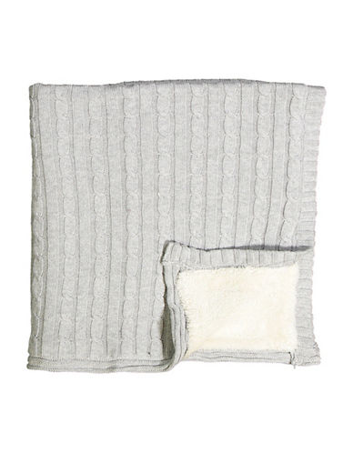 Tots Fifth Ave Cable Knit and Sherpa Blanket-GREY-One Size