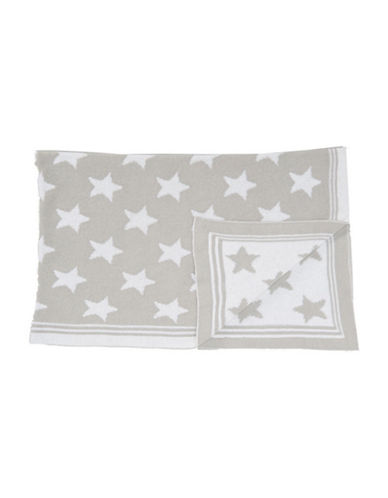 Tots Fifth Ave Star Knit Blanket-GREY-One Size