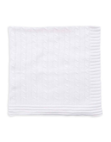 Tots Fifth Ave Cable Knit Blanket-WHITE-One Size