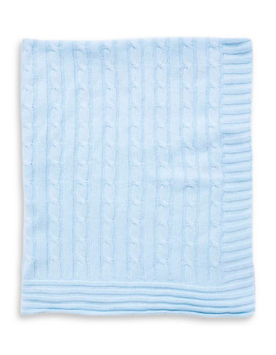 Tots Fifth Ave Cable Knit Blanket-BLUE-One Size