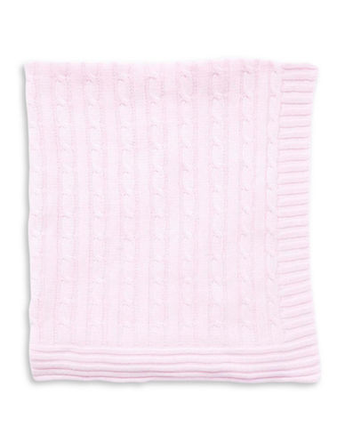 Tots Fifth Ave Cable Knit Blanket-PINK-One Size