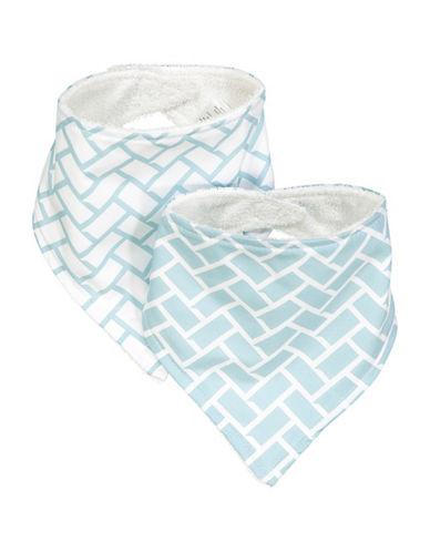 Amor Bebe Set Of Two Geometric Triangle Bibs-BLUE-One Size