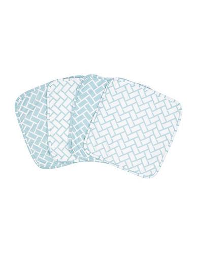 Amor Bebe Set of Four Geometric Washcloths-BLUE-One Size
