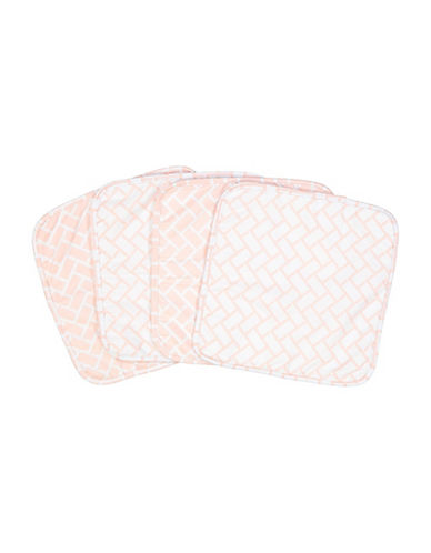 Amor Bebe Set of Four Geometric Washcloths-PINK-One Size