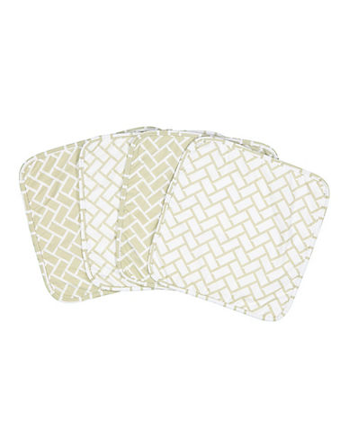 Amor Bebe Set of Four Geometric Washcloths-GREEN-One Size