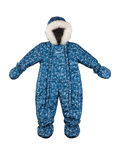 Gusti Three-Piece Pom-Pom Hat, Scarf and Printed Snowsuit Set-BLUE-18 Months