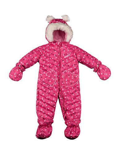 Gusti Three-Piece Pom-Pom Hat, Scarf and Printed Snowsuit Set-PINK-18 Months