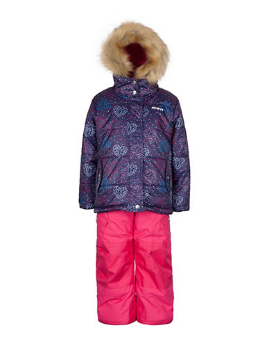 Gusti Girls Six-Piece Printed Parka and Snow Pants Set-BLUE-3