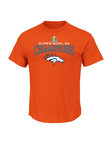 Majestic NFL 2016 Super Bowl Champions Denver Broncos Colour Tee-ORANGE-Medium