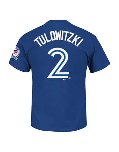 Majestic Toronto Blue Jays Troy Tulowitzki 40th Anniversary Patch T-Shirt-ROYAL-X-Large
