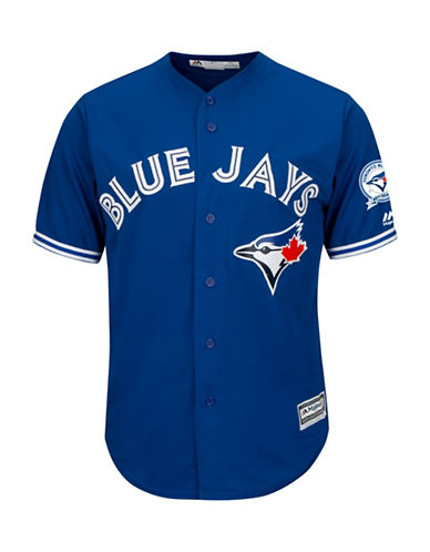 Majestic Toronto Blue Jays 40th Season Cool Base Away Jersey-ROYAL-X-Large