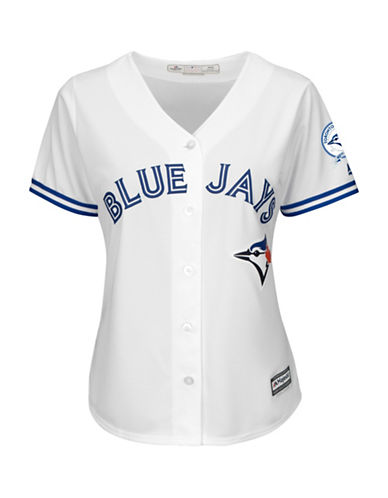 Majestic Threads Toronto Blue Jays 40th Season Cool Base Home Jersey-WHITE-XX-Large