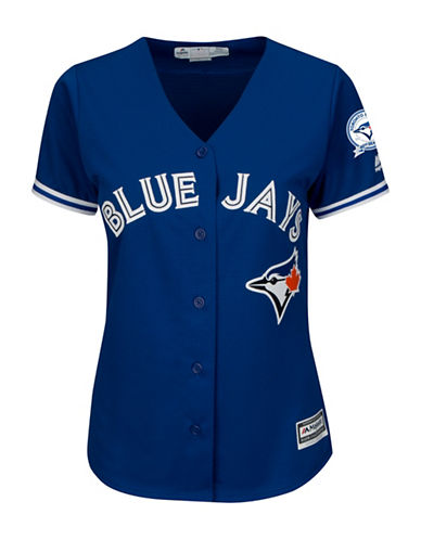Majestic Threads Toronto Blue Jays 40th Season Cool Base Away Jersey-ROYAL-Small