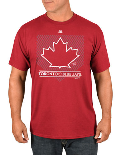 Majestic Toronto Blue Jays Leaf Logo T-Shirt-RED-Small