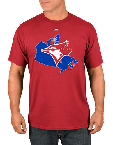 Majestic Toronto Blue Jays Canada T-Shirt-RED-Large