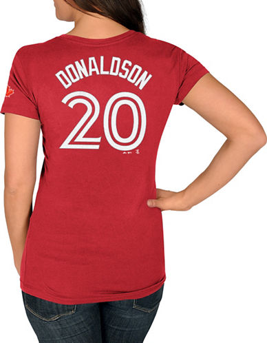 Majestic Ladies Toronto Blue Jays Josh Donaldson Red Player T-Shirt-RED-X-Large 89288868_RED_X-Large