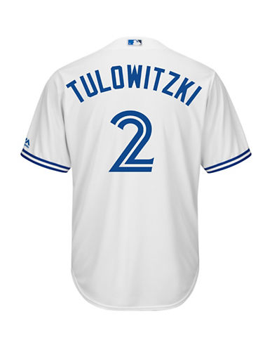Majestic Troy Tulowitzki Toronto Blue Jays Cool Base Replica Home Jersey-WHITE-Large