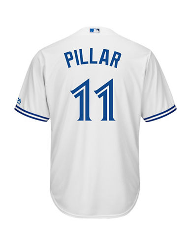 Majestic Kevin Pillar Toronto Blue Jays Cool Base Replica Home Jersey-WHITE-Small
