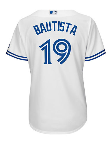 Majestic Ladies Jose Bautista Toronto Blue Jays Cool Base Replica Home Jersey-WHITE-Medium