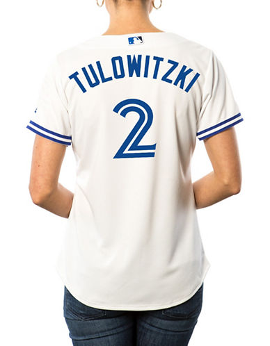 Majestic Ladies Troy Tulowitzki Toronto Blue Jays Cool Base Replica Home Jersey-WHITE-X-Large