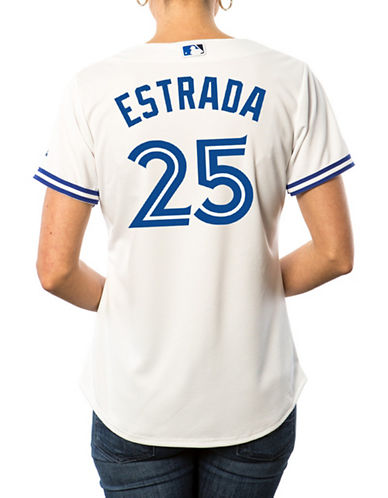 Majestic Ladies Marco Estrada Toronto Blue Jays Cool Base Replica Home Jersey-WHITE-XX-Large