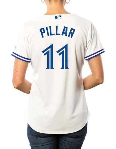 Majestic Ladies Kevin Pillar Toronto Blue Jays Cool Base Replica Home Jersey-WHITE-Large