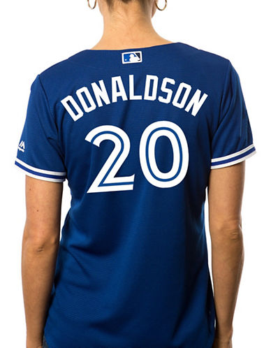 Majestic Ladies Josh Donaldson Toronto Blue Jays Cool Base Replica Away Jersey-ROYAL-Large