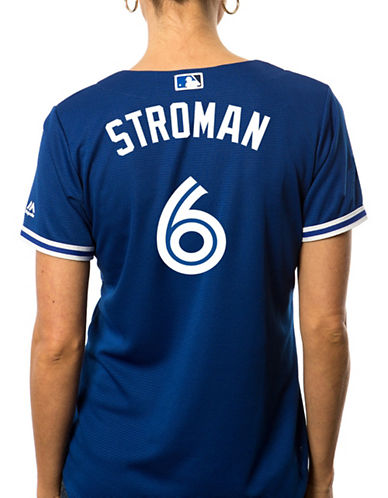 Majestic Ladies Marcus Stroman Toronto Blue Jays Cool Base Replica Away Jersey-ROYAL-Large