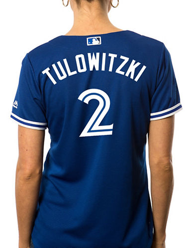 Majestic Ladies Troy Tulowitzki Toronto Blue Jays Cool Base Replica Away Jersey-ROYAL-Medium